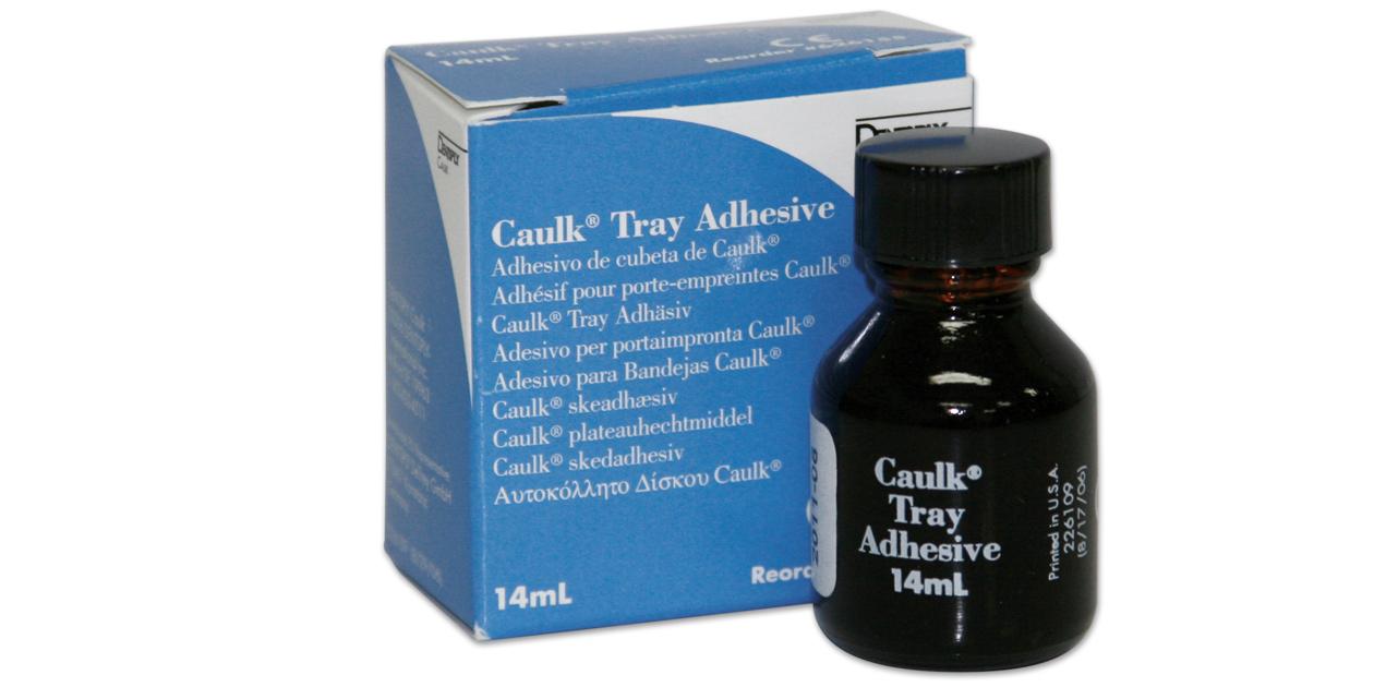 Caulk tray adhesives