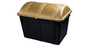 Black plastic toy chest